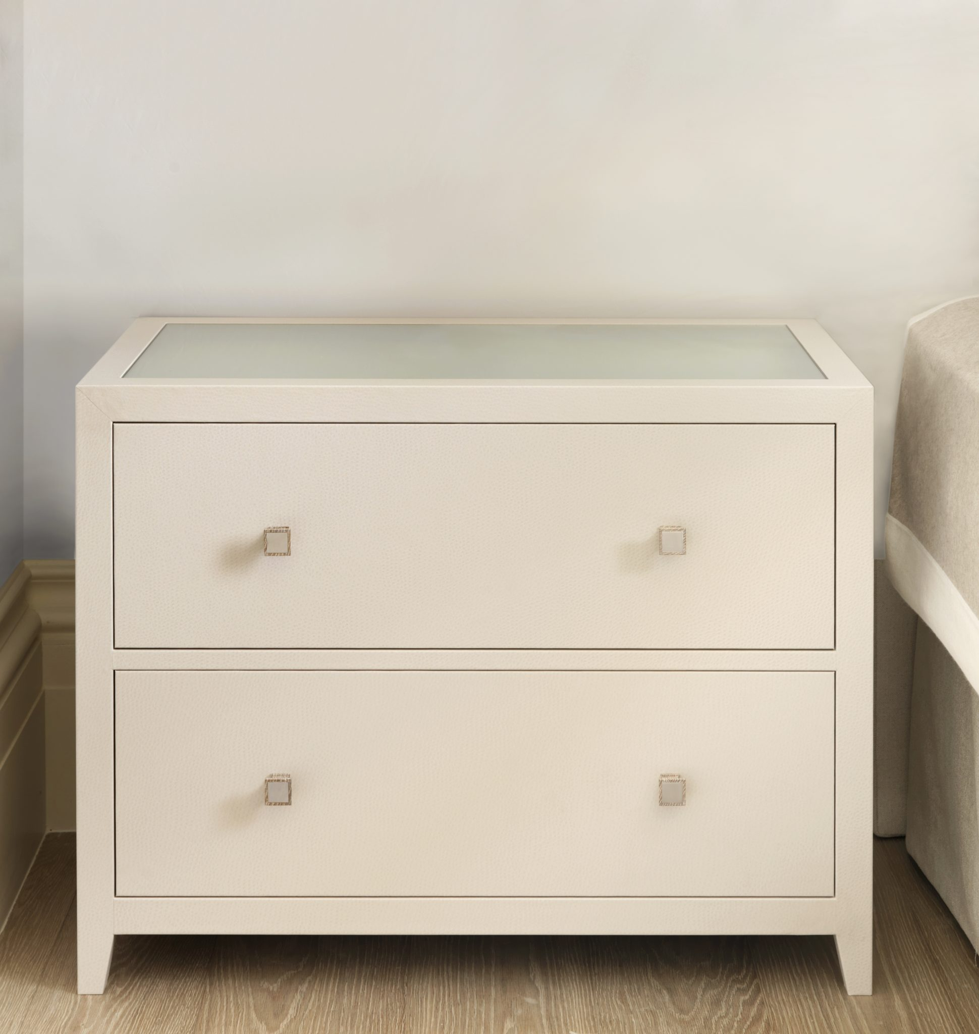 Large Leather Bedside Table