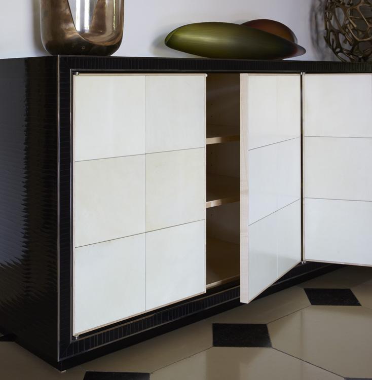 Vellum and Black Crackle Cabinet