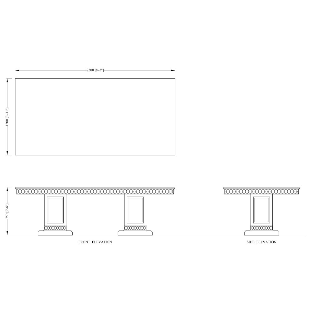 Limed Oak Dining Table with Frieze