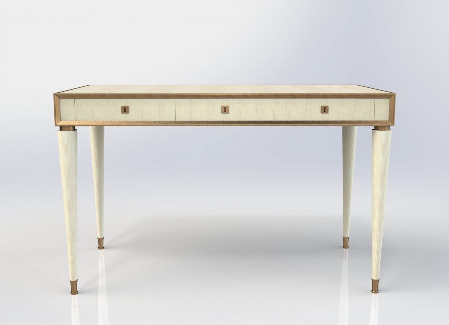 Small Sycamore and Bronze Dressing Table or Desk