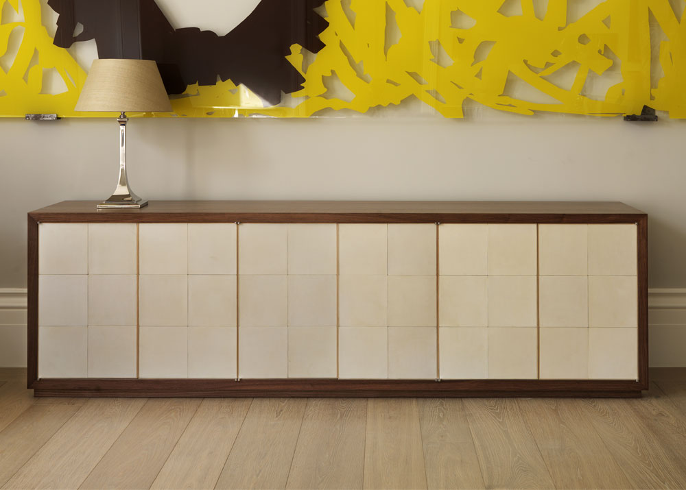 Vellum and Walnut Credenza